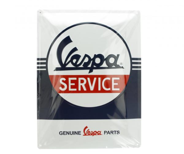 Vespa metalen plaat Vespa Service, 30x40 mm