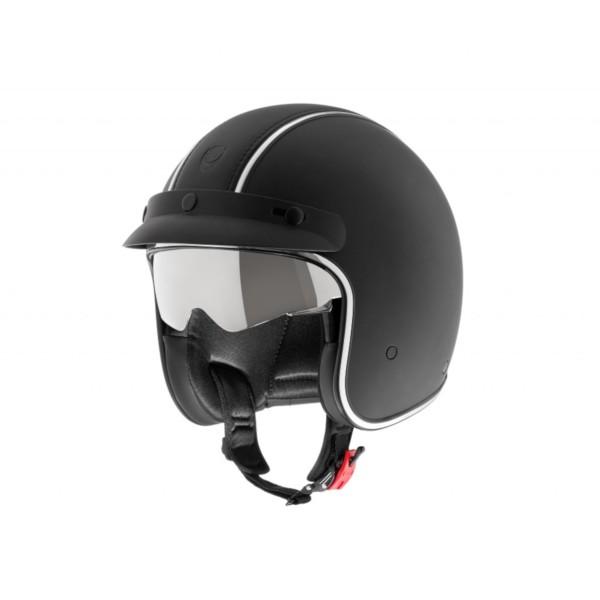 Helmo Milano open helm, Audace Siverstone, zwart mat