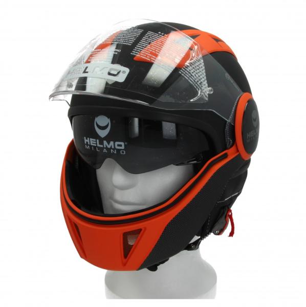 Helmo Milano Full Jet Helm, FuoriRotta Premium, mat zwart, oranje