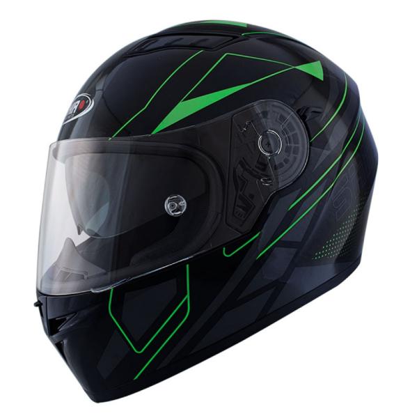 Shiro Volgelaatshelm, SH600, Elite, zwart mat/groen