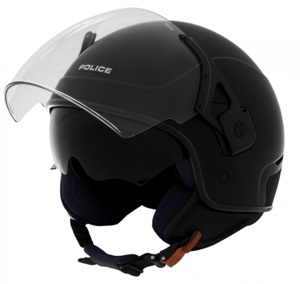 Piaggio Jet helm, Police, zwart, mat