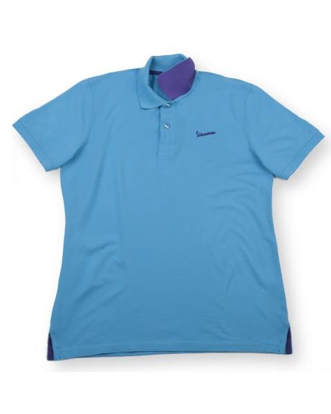 """Vespa Polo """"Vespa Logo"""" man lichtblauw"""