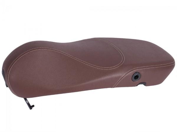 Original Vespa Sitzbank für Vespa Primavera in Braun mit weisser Naht