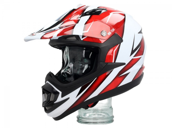 Shiro Off Road Helm, MX734, Troy, wit/rood