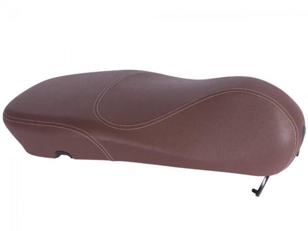 Originele Vespa seat voor Vespa Primavera bruin met witte stiksels