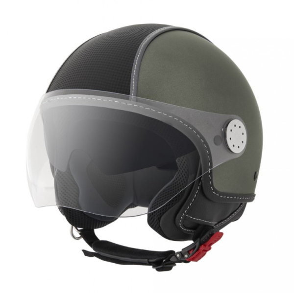 Piaggio Demi Jet helm, Carbonskin, army green, mat