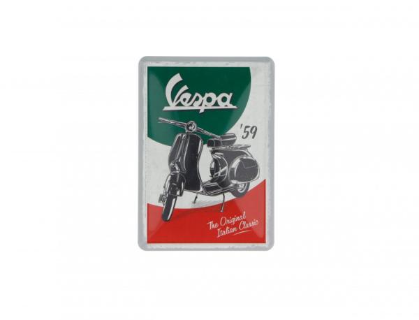 Vespa-postkaart in blik The Italian Classic
