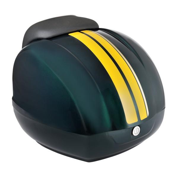 Sierstrepen (geel) voor Vespa GTS Racing Sixties topkoffer groen, groen gemetalliseerd 349 / A, 37 l