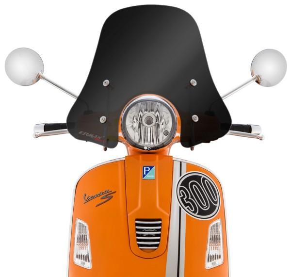 Windscherm Sportivo voor Vespa GTS/GTS Super/GT/GT L 125-300ccm, halfhoog, zwart gekleurd