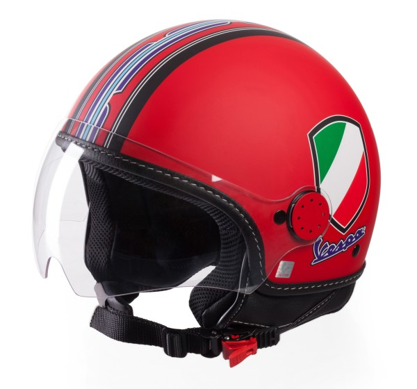 Vespa Helm Demi Jet V-Stripes, rood