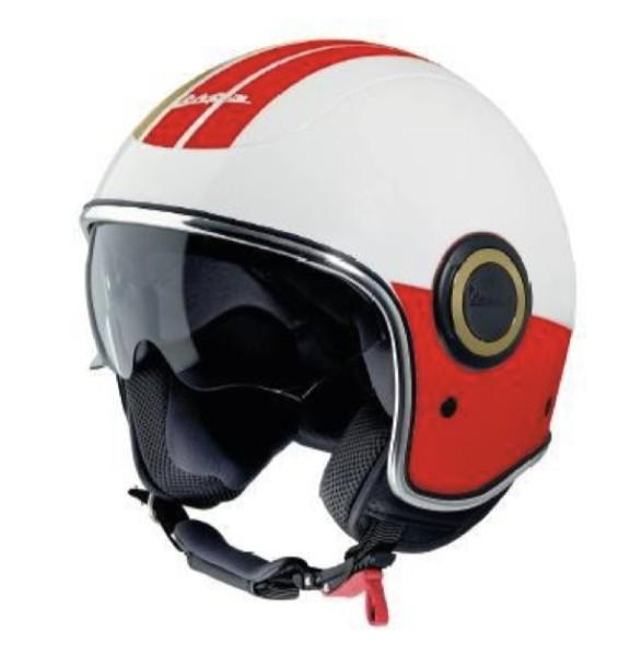 Vespa jethelm VJ Racing 60s wit / rood - jaren sixties
