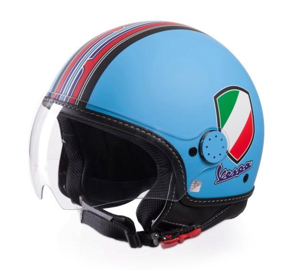 Vespa Helm Demi Jet V-Stripes, lichtblauw