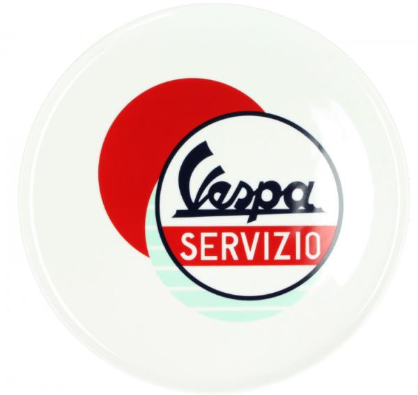 Vespa plaat Servizio wit blauw rood