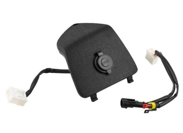 Bagagevakkap links met USB-aansluiting voor Vespa GTS/GTS Super/GTV/GT, zwart
