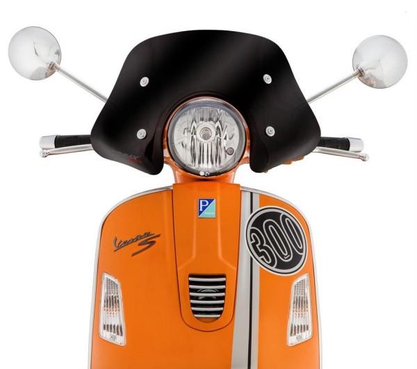 Flyscreen Piccolo voor Vespa GTS/GTS Super/GT/GT L 125-300ccm, zwart gekleurd