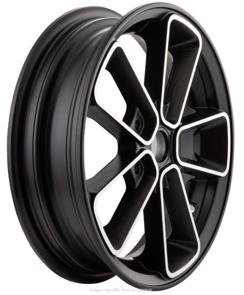 """Velg voor/achter 12"""" voor Vespa GTS/GTS Super/GTV/GT 60/GT/GT L 125-300ccm, zwart met zilver rand"""