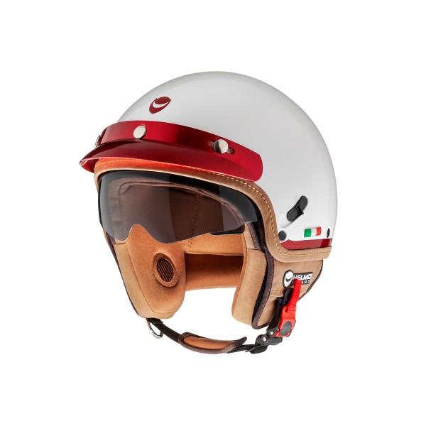 Helmo Milano open helm, FuoriPorta, wit, rood
