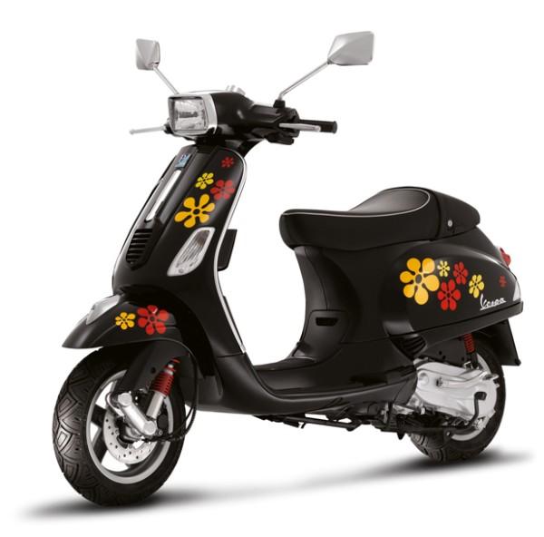 """Sticker Kit """"bloemen"""" Vespa S - rood / oranje"""