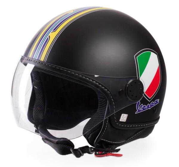 Vespa Helm Demi Jet V-Stripes, zwart