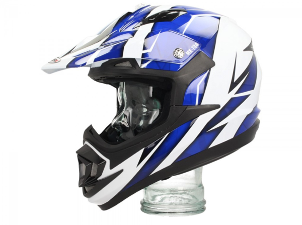 Shiro Off Road Helm, MX734, Troy, wit/blauw