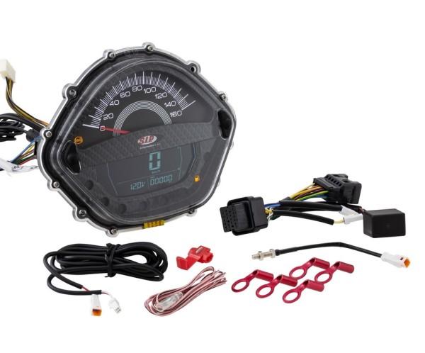 Toerenteller/Tacho voor Vespa GTS 250ccm (-'13), carbon-look