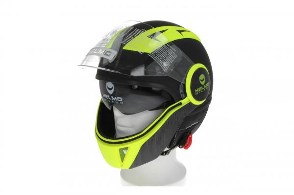 Helmo Milano Full Jet Helm, FuoriRotta Premium, mat zwart, geel fluo