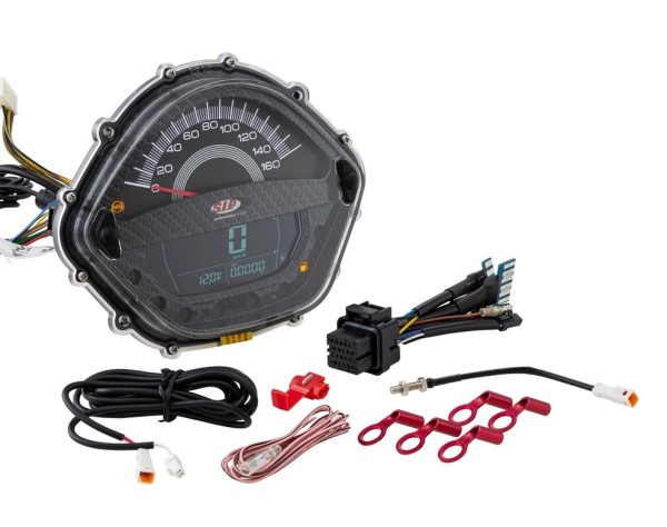 Toerenteller/Tacho voor Vespa GT/GT L 125/200ccm/ GTS 125ccm, carbon-look