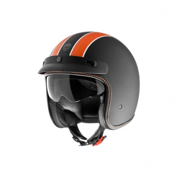 Helmo Milano open helm, Audace Daytona, zwart mat, oranje, mat